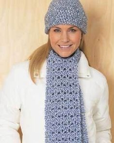 This free crochet pattern will keep you warm and in style all winter long. You can make just the hat or just the scarf, but it's even better when you make the whole set.