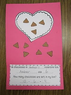 Valentine Day math project = 10 # sentences - I could modify this Math Subtraction, Subtraction Activities, Numeracy, Kindergarten Rocks, Kindergarten Activities, Preschool Ideas, Classroom Activities, Craft Ideas, Math Projects