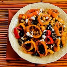 Marinated Pepper Salad with garbanzo beans, olives and feta.