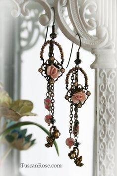 Rose Chintz - Gypsy Roses Dangle Earrings by TuscanRose #Etsy