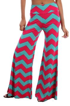 House of Glam - Coral and Mint Chevron Pallazo Pants
