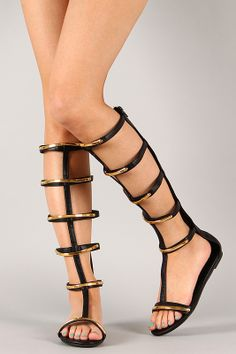 Qupid Lana-310X Strappy Gladiator Knee High Flat Sandal