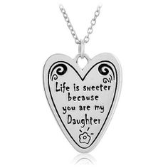 """Chuvora .925 Sterling Silver """"Life is sweeter because you are my daughter"""" Heart Pendant Necklace 18'', Gift for daughter Chuvora. $29.99. Mark .925 Sterling Silver. Weight: 4 g.. Matching Bracelet is also available. Please search Amazon for BR0088SIL. Packaging: Black Velvet Pouch. Pendant size: 1.8 x 2.3 cm. Necklace length: 18''"""