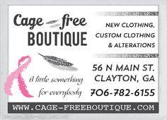 NEW CLOTHING, CUSTOM CLOTHING & ALTERATIONS    WWW.CAGE-FREEBOUTIQUE.COM | Cage-free Boutique - Clayton, GA #georgia #ClaytonGA #shoplocal #localGA