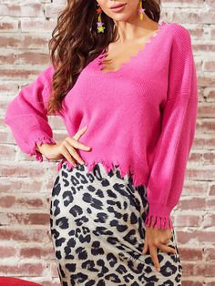 Fabric : Acrylic Color : Rose Sleeve Length : Long Sleeve Neckline : V-neck The post V-Neck Long Sleeves Acrylic Pullovers Sweaters appeared first on Power Day Sale. Cute Fall Outfits, Boho Outfits, Ootd Fashion, Streetwear Fashion, Street Fashion, Fall Collection, Rose Sleeve, Look Boho, Types Of Sleeves