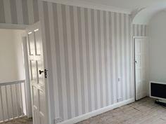 Grey stripe wallpaper. Lille by Laura Ashley. Bedroom (k.wood)