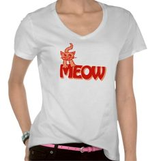 Meow cat graphic red orange t-shirt