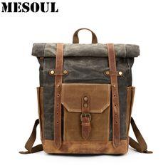 Vintage Military Backpack Male Travel Bag Large Capacity Waterproof Backpack  School Shoulder bagpack Canvas Men Casual 9ffc004e09d32