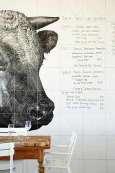 This is the menu wall at Babylonstoren Hotel in South Africa.  It's a stylish luxury hotel and a working farm at once.