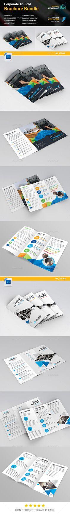 Tri-fold Brochure Template PSD Bundle 2 in 1