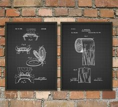 Toilet Roll and Seat Patent Wall Art Poster Set by QuantumPrints