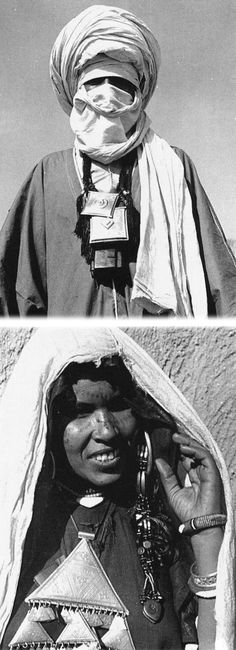 Africa | Ahaggar tuareg man and woman || Photo by M. Gast. (°_o)¯┐(-。ー;)┌٩(͡๏̯͡๏)۶٩͡[๏̯͡๏]۶͡๏_͡๏٩(●̮̮̃•̃)۶ ≧△≦凸'へ'凸☽ (°ロ°)☝ε(●̮̮̃•̃)з