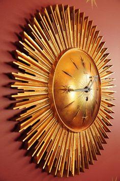 Sunburst 8 day Syroco clock,  a retro beauty.  https://www.etsy.com/listing/119315532/sunburst-clock-starburst-clock-moon-face#