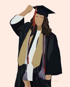 People Illustration, Illustration Girl, Portrait Illustration, Digital Illustration, Graduation Images, Surealism Art, Avatar Picture, Poster Drawing, Cartoon Art Styles