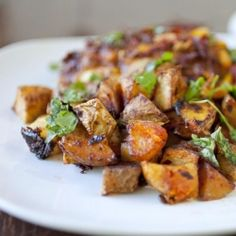 Roasted Moroccan potatoes tossed in honey, harissa and lemon juice.