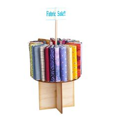 """Carousel Fabric Display Kit with Bolts and Fabric This sturdy, well-designed, unassembled, laser-cut maple wood kit is easy to assemble. 3""""Dia. x 5 1/2""""H"""