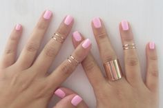 Set of 6 rose gold stacking rings with 1 tube ring by HLcollection, $34.00