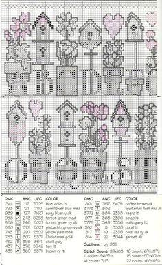 Schema punto croce Flowerpots Abc 2/3