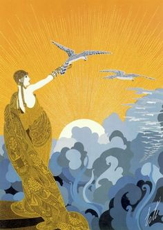 """Wings of Victory"" HUGE Art Deco Print by Erte: Amazon.co.uk: Kitchen & Home"