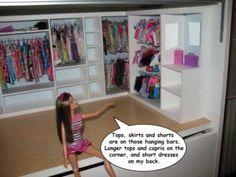 How to make a dollhouse closet for your Barbie Barbie Shop, Barbie Doll House, Barbie Dream House, Barbie Dolls, 1980s Barbie, Doll House Crafts, Doll Houses, Barbie Bedroom, Diy Barbie Furniture
