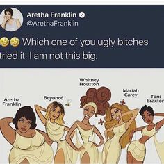 Beyonce, Mariah, Whitney and Toni sure aren't that tiny either! Stupid Funny Memes, Funny Relatable Memes, Funny Tweets, Funny Posts, Funny Stuff, True Memes, Really Funny, Funny Cute, The Funny