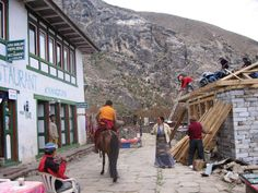 Expect the unexpected in Nepal; Buddhist monk riding a horse past carpenters rebuilding a damaged house.