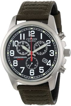 c0f4300fb2b Citizen Men s AT0200-05E Eco-Drive Stainless Steel Watch with Canvas Band  Casual Watches