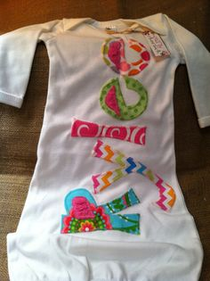 Personalized appliqué infant baby girl gown