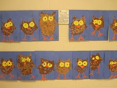 owls - practice cut and paste, tear paper to create collage (good fine motor honing)