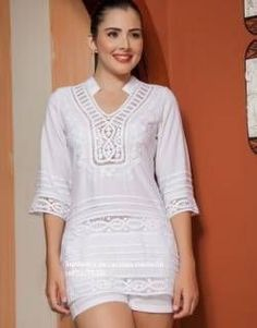 BLUSAS - PRIMAVERAL Bordados y Accesorios Fashion Sewing, Blouse Designs, Dressing, Tunic Tops, Glamour, Shirt Dress, Shirts, Outfits, Women
