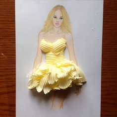 Armenian Fashion Illustrator Creates Stunning Dresses From Everyday Objects Pics) - Armenian Fashion Illustrator Creates Stunning Dresses From Everyday Objects Pics) - Paper Fashion, 3d Fashion, Ideias Fashion, Dress Fashion, Unique Fashion, Fashion Design Drawings, Fashion Sketches, Gown Drawing, Illustration Mode