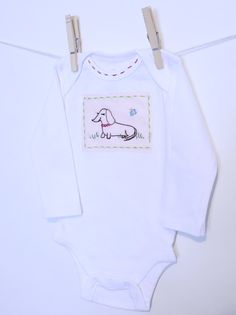 Hand Embroidered Original Design Baby Onesie by marenannholzinger