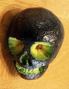 Sit the avocado skull on top of your guacamole bowl for decoration at your Halloween party!