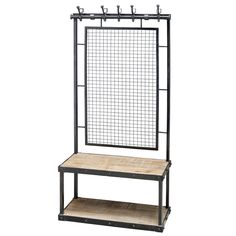 A steel framed unit painted black.Wooden bench and under shelf.Five cast iron hooks with random steel numbers, featuring a wire mesh back.