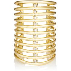 Jules Smith Women's Triton Long Ring (€60) ❤ liked on Polyvore featuring jewelry, rings, no color, cage jewelry, 14 karat white gold ring, jules smith jewelry, 14k ring and polish jewelry