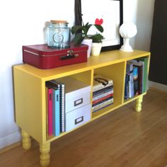 Easy, cheap, DIY bench -- Old bookcase, set on it's side, attach legs & paint