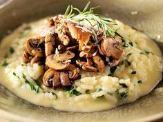 Smoked-Gouda Risotto with Spinach and Mushrooms. I don't like risotto that much, so I would probably use grits or polenta and use this as inspiration