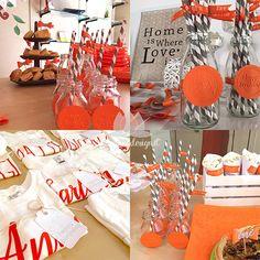 festa di compleanno arancione e grigio