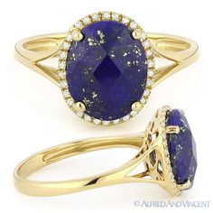 The featured ring showcases a checkerboard oval cut blue lapis & round cut diamond accents set on a 14k yellow gold halo setting with splitshank bands.  #diamonds #14kjewelry #14kgold #yellowgold #lapis #rings