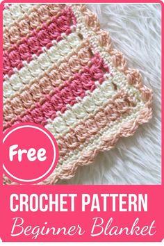 Easy Crochet Blanket, Baby Afghan Crochet, Manta Crochet, Afghan Crochet Patterns, Baby Knitting Patterns, Crochet Stitches, Free Crochet, Crochet Blankets, Crochet Geek