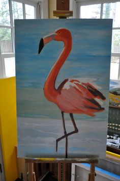 Kellie Medford Art-  Flamingo in the surf-Acrylic on canvas  https://www.etsy.com/listing/117540397/flamingo-in-the-surf
