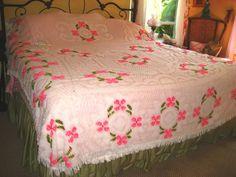 60's Vintage Summer Pink Chenille Bedspread Floral Bedspread Cottage Decor. $59.00, via Etsy.