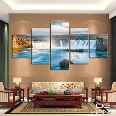 Home Decor 5 Panels Original Oil Ink Swing Bed On Beach Picture Canvas Print Wall Art Picture Home Decor 020 High Quality Materials