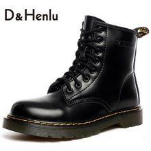 {D & H} Plus Size34-44 Zapatos de Marca Mujeres Del Cuero Genuino Con Cordones de Martin Botas de Otoño Invierno de Las Mujeres Botas Cortas Zapatos de Mujer de Color Marrón(China (Mainland))