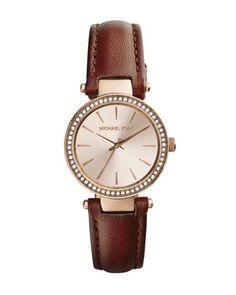Michael Kors Mini Tan Leather Darci Three-Hand Glitz Watch. Michael Kors Bag  005b2cc0397f