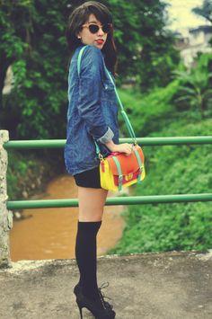 Bruna Vieira (@depoisdosquinze) em um look color block com a nossa bolsa Frederica.    (amo os look da Bruna!!)