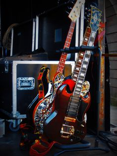 The 1972 Gibson SG Custom, the Casino and the bass.