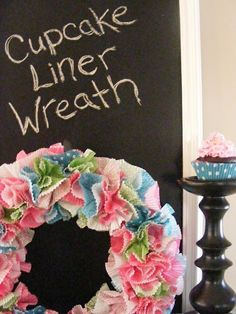 cupcake liner wreath. Cute for spring?? craft-ideas