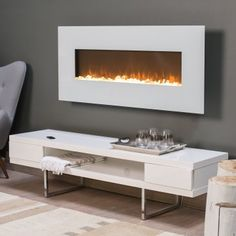 For next to tub! Alden Wall Fireplace - White - Electric Fireplaces at Hayneedle