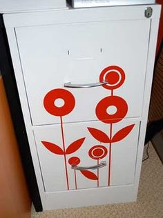 Vinyl to dress up boring file cabinet